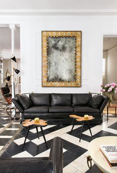 Find everything you need for a black and white living room look filled with sleek modern furniture and simple gold decor for a minimal, elegant design My Living Room, Living Room Interior, Living Room Decor, Living Spaces, Apartment Interior, Design Salon, My Home Design, House Design, Design Hotel