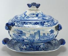 STAFFORDSHIRE POTTERY COVERED SOUP TUREEN AND UNDERTRAY Early 19th Century In the blue and white Slingsby Castle pattern. Includes ladle. Blue Dishes, White Dishes, Porcelain Ceramic, White Porcelain, Blue Chinaware, Fine China Dinnerware, Kitchen Pantry Design, China Tea Sets, Himmelblau