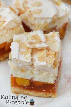 Brzoskwiniowa chmurka - KulinarnePrzeboje.pl Chesee Cake, Cake Bars, No Bake Cake, Sweet Desserts, Sweet Recipes, Cake Recipes, Dessert Recipes, Polish Desserts, Polish Recipes