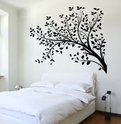 Wall Decal Tree Branch Cool Abstract Art For Living Room Vinyl Sticker Unique Gift 45 in X 52 in / White Tree Bedroom, Bedroom Art, Master Bedroom, Cool Abstract Art, Living Room Vinyl, Wall Painting Decor, Painting Trees On Walls, Wall Decals For Bedroom, Metal Tree Wall Art