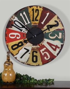 "Uttermost Vintage License Plates 29"" Wall Clock"