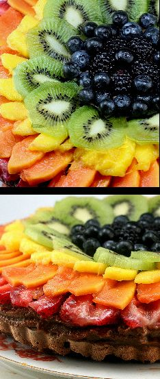 Fresh Fruit Chocolate Mousse Meringue Tart
