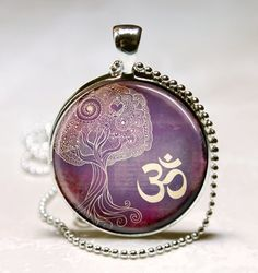 Tree Of Life Necklace Yoga Jewelry Om, Aum, Zen, Meditation, Buddhism, Purple Art Pendant With Ball Chain Included on Etsy, $9.38 CAD