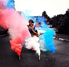 I want to do this with a model doing an awesome pose in the middle of the colored smoke.