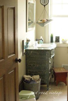 vintage vanity luv -   via postroadvintage - farmhouse bathroom
