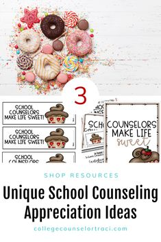 This quick and low-prep sweet treats National School Counseling Week set is ideal for any counseling office! College and career readiness starts with celebrating and honoring the counselors that help students achieve higher! Shop College Counselor Traci for more ideas! #schoolcounseling #nationalschoolcounselingweek #NSCW #counselorappreciation Counselor Bulletin Boards, Counselor Office, National School Counseling Week, College Success, Appreciation Gifts, Sweet Treats, Career, Students, Wall Decor