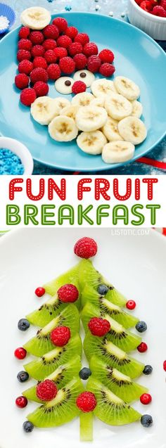 Christmas Fruit Idea For Kids | Over 15 fun, cute and easy Christmas breakfast ideas for kids! These creative recipes are so simple and easy to make, but are sure to make Christmas morning extra special. Everything from pancakes to toast and oatmeal! Listotic.com