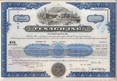 Texaco Inc. Bond Stock Certificate Oil Gas