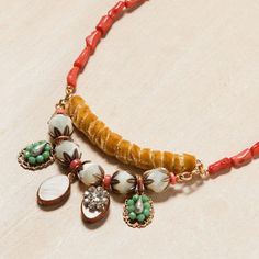 Coral and Ochre Velvet Necklace by Jill Schwartz for Elements