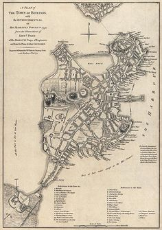 Antique map of Boston in 1777