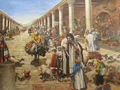 Fresco of the Cardo market in Roman Jerusalem. Created by Cite Creation.