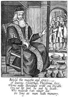 Father Christmas typified the spirit of good cheer at Christmas. A traditional figure in English folklore, Father Christmas is identified with the old belief in the god Woden.