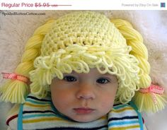 ON SALE Cabbage Patch Kid Inspired Crochet Hat Pattern PDF