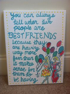 Lilly Pulitzer Inspired (Resort White Pop) Canvas Painting with Bestfriend Quote