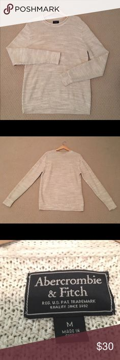Abercrombie & Fitch Sweater • Beige • Great Shape! This beige Abercrombie & Fitch sweater has been lightly worn (maybe 2-3 times) and very well taken care of. This sweater features a rolled crew neck look and is super soft and comfortable! Size Medium Abercrombie & Fitch Sweaters Crewneck