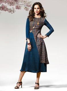 Teal Silk Designer Readymade Kurti 124595
