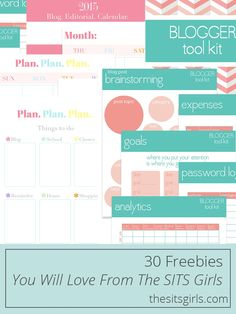 30 Freebies from The SITS Girls that will help you get organized, design your blog, change your fonts, and print fun things. Free stuff is always good, but this free stuff is awesome.
