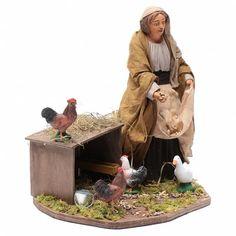 Mujer que alimenta a las gallinas movimiento 30 cm belén | venta online en HOLYART Reggio, Natal Diy, Winter Day, Nativity, Garden Sculpture, Christmas Crafts, Outdoor Decor, Painting, Animals