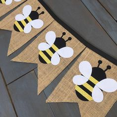 Honey bee party decorations banners, for a first birthday, baby shower, nursery, or gender reveal party! Ready to Ship in just a few days!! Buy the individual banners separately or as a 2-banner set! This honey bee banner set includes a burlap banner with seven fabric appliqué