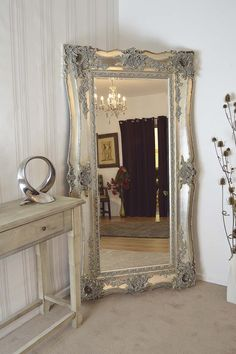 5964e21cd366 Extra Large Very Ornate Full Length Antique Silver Big Wall Mirror x