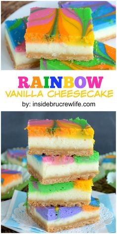 #recipes #desserts #food #rainbow #cheesecake #vanilla #bars #cakes