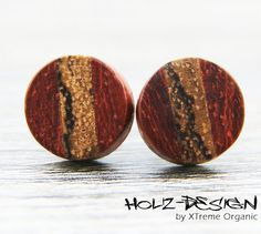 Mini Ohrstecker aus Holz Kleine Ohrringe hölzern von XTremeOrganic, €13.50  Wooden ear studs, wooden Fake gauge plugs, earrings from XTremeOrganic, €13.50