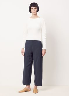 Lemaire Cropped Elasticated Pants (Midnight Blue)