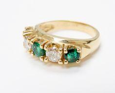 Stunning Ring!  #Vintage #Emerald  #DiamondRing