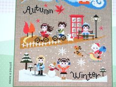 Contemporary cross stitch pattern and kit four by sewsewnsew