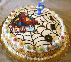 Torta decorata spiderman con cialda e panna- torta decorata bimbo