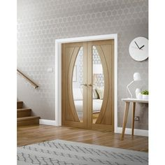 Internal Door Pair Oak Salerno with Clear Glass Untreated