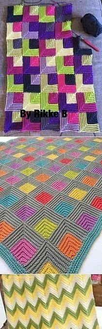 Crochet Couverture Blanket Ins Crochet Motifs, Crochet Quilt, Crochet Blocks, Tunisian Crochet, Crochet Squares, Crochet Home, Crochet Crafts, Crochet Stitches, Crochet Projects