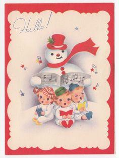 Vintage Greeting Card Christmas Snowman Cute Angel Singing Hello! 1940s