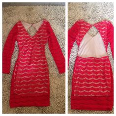 Red sexy lace dress Long sleeve Red dress, lined! 100%polyester. New Dresses Backless