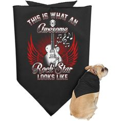 When a man's best friend is his awesome rock star dog. Keep rockin' it together! - 2.5 oz. 50/50 cotton/polyester woven fabric - Raw serge hem - 30 in wide x 15 in tall - Decoration type: Heat Transfe