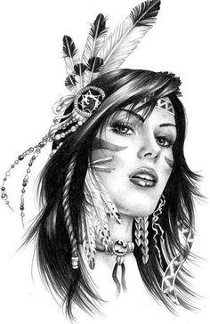 Черно-белый эскиз девушки-индианки