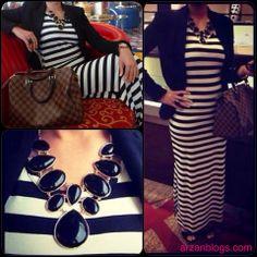 OOTD: Striped Maxi Dress; Louis Vuitton Speedy 30 Damier Ebene  Full Details here: http://arzan11fashion.blogspot.ca/2013/09/ootd-afternoon-tea-at-burj-al-arab.html  Check out my blog on Afternoon Tea at Burj Al Arab: http://arzantravel.blogspot.ca/2013/09/burj-al-arab.html