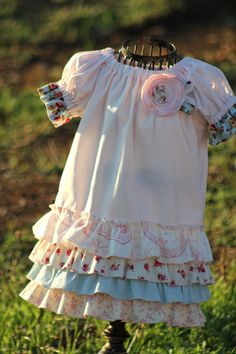 The Addison Dress in Pink and Blue - custom size 12 months- 4T. $45.00, via Etsy.