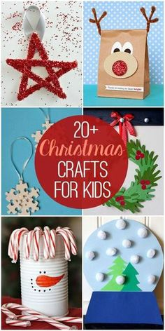 "20+ Christmas Crafts for Kids - so many cute and fun craft ideas!! And make sure you check out and follow this board and enter to win the ""Home For The Holidays"" contest here: http://clvr.li/2cIkdtF #downrightdelicious #CG #ad"