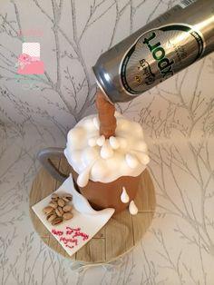Anti gravity beer mug cake.