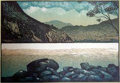 Across Llyn Gwynant - linocut by printmaker Ian Phillips