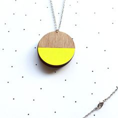 Wooden Laser Cut Neon Yellow Dipped Photo Locket by solittletimeco, $50.00