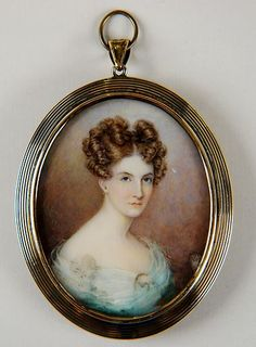 Signed Portrait Miniature Painting Woman in White | eBay