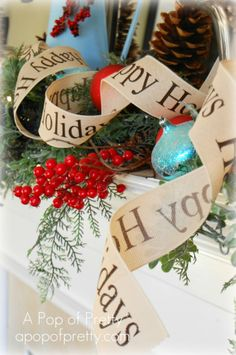 A Pop of Pretty: Canadian Decorating Blog - http://apopofpretty.com/my-rustic-red-and-turquoise-christmas-mantel-lots-of-pics/