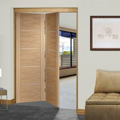 Bespoke Thrufold Portici Oak Flush Folding 2 0 Door Aluminium Inlay Prefinished