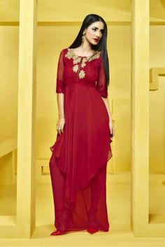 It will definitely earn you loads of compliments from onlookers. This amazing kurti has Red colored embroidery work on all over the kurti. The Red colored kurti is fabricated in Georgette. This lovely...