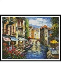 This counted cross stitch pattern of a scene in Venice was created from beautiful artwork copyright of Sharie Hatchett Bohlmann. Counted Cross Stitch Patterns, Beautiful Artwork, Love Songs, Sewing Crafts, Scene, Landscape, Leaflets, Painting, Image