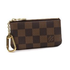 Louis Vuitton Pochette Cles Damier Ebene Wallets Brown Canvas N62658