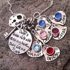Hand Stamped Sterling Silver Grandmothers Necklace Personalized STOLE MY HEART Mom Gift for Her Keepsake Grandma Nana Jewelry on Etsy, $175.00
