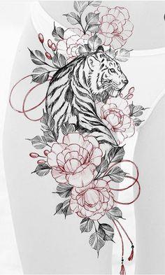 Tiger Tattoo Thigh, Tigh Tattoo, Tiger Tattoo Sleeve, Big Cat Tattoo, Tiger Tattoo Design, Floral Tattoo Design, Tattoo Design Drawings, Tiger Eyes Tattoo, Sleeve Tattoos